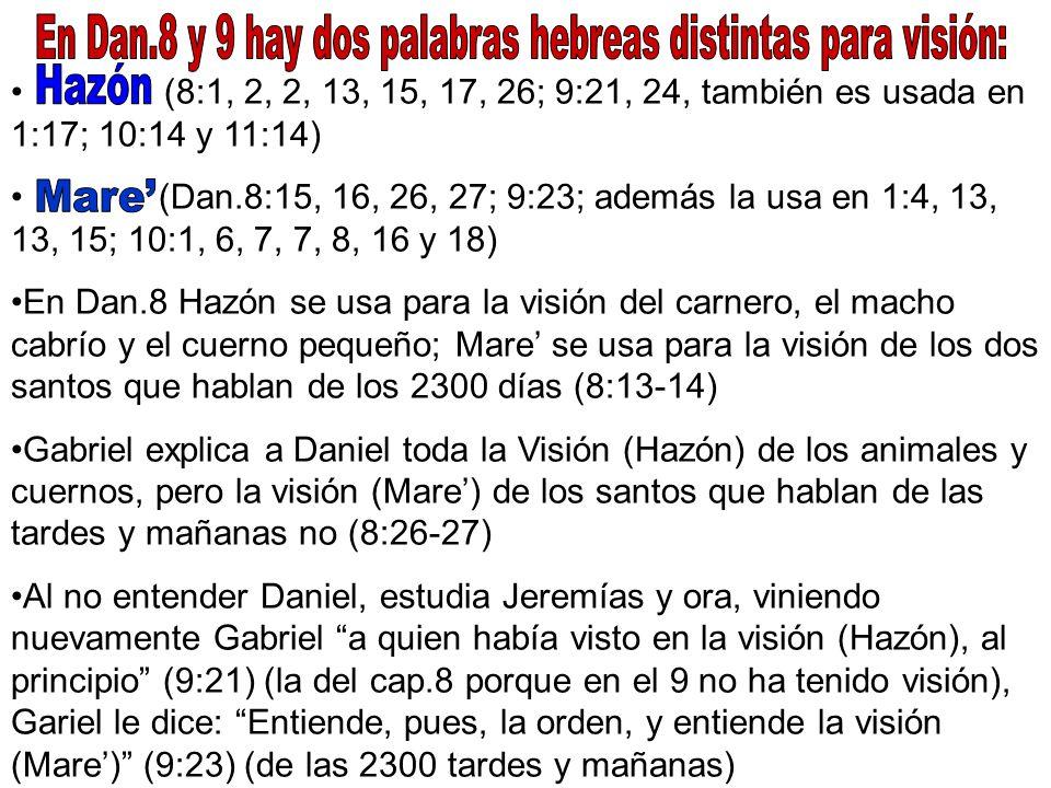 (8:1, 2, 2, 13, 15, 17, 26; 9:21, 24, también es usada en 1:17; 10:14 y 11:14) (Dan.8:15, 16, 26, 27; 9:23; además la usa en 1:4, 13, 13, 15; 10:1, 6,