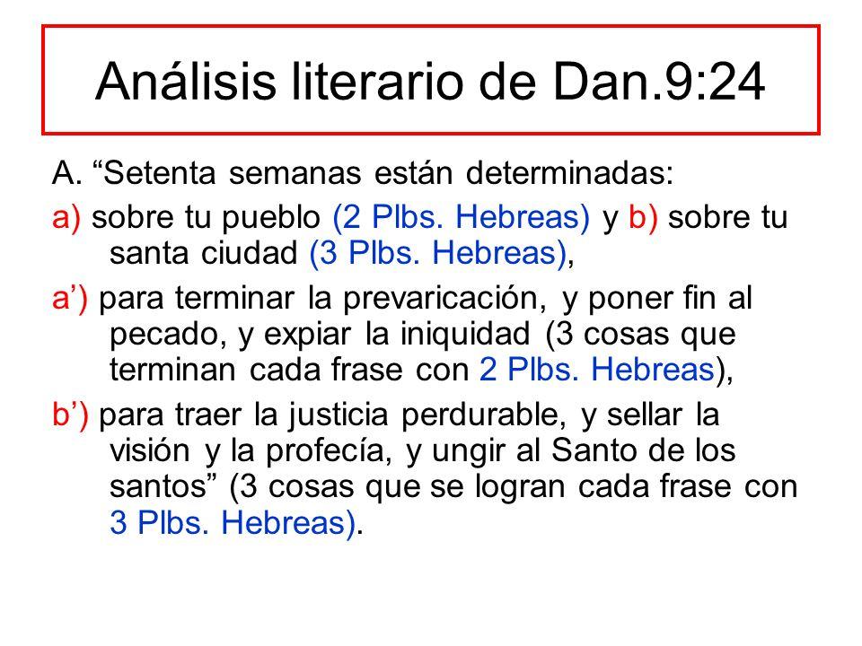 Análisis literario de Dan.9:24 A. Setenta semanas están determinadas: a) sobre tu pueblo (2 Plbs. Hebreas) y b) sobre tu santa ciudad (3 Plbs. Hebreas