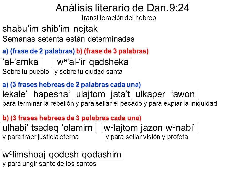 shabuim shibim nejtak Semanas setenta están determinadas a) (frase de 2 palabras) b) (frase de 3 palabras) al-amka w e al-ir qadsheka Sobre tu pueblo