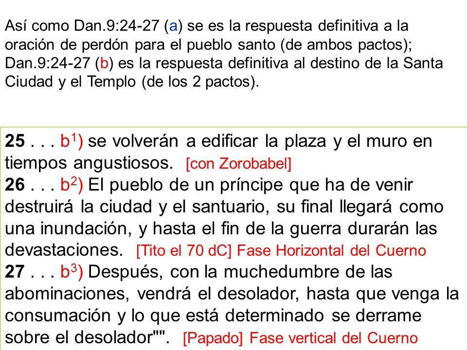 25... b 1 ) se volverán a edificar la plaza y el muro en tiempos angustiosos. [con Zorobabel] 26... b 2 ) El pueblo de un príncipe que ha de venir des