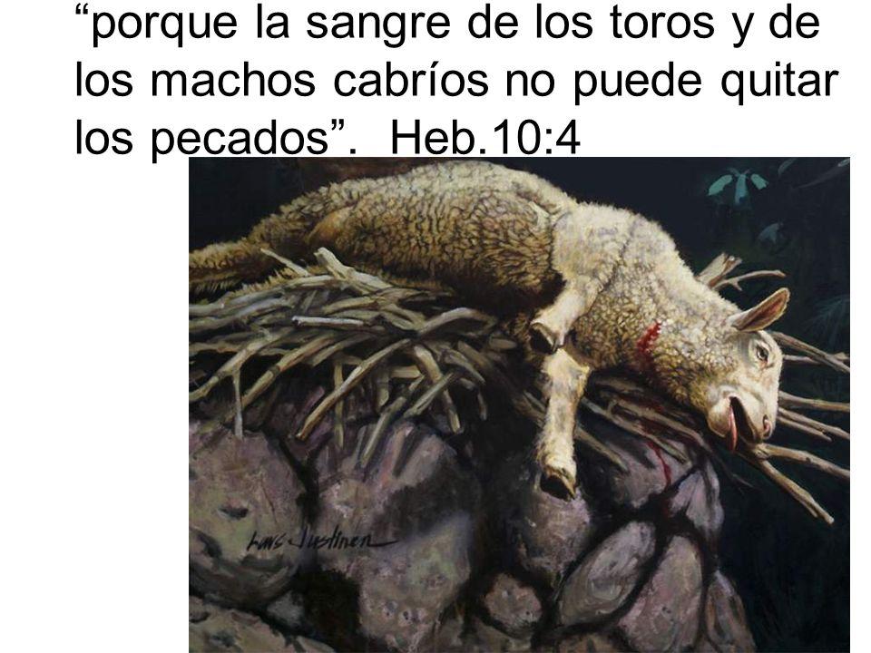 porque la sangre de los toros y de los machos cabríos no puede quitar los pecados. Heb.10:4
