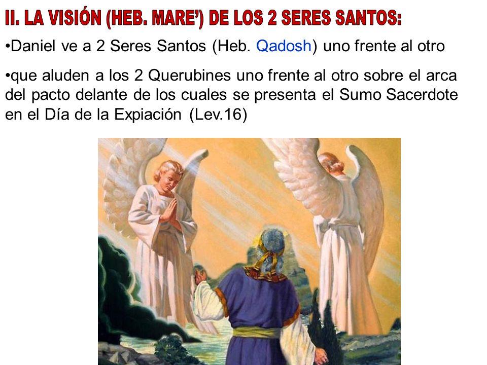 Daniel ve a 2 Seres Santos (Heb. Qadosh) uno frente al otro que aluden a los 2 Querubines uno frente al otro sobre el arca del pacto delante de los cu