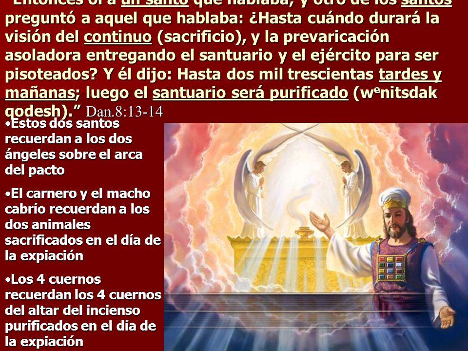 Entonces oí a un santo que hablaba; y otro de los santos preguntó a aquel que hablaba: ¿Hasta cuándo durará la visión del continuo (sacrificio), y la