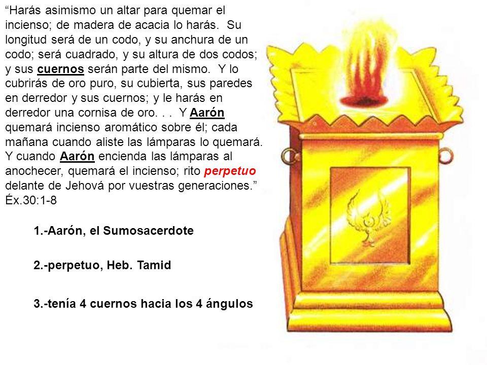Harás asimismo un altar para quemar el incienso; de madera de acacia lo harás. Su longitud será de un codo, y su anchura de un codo; será cuadrado, y