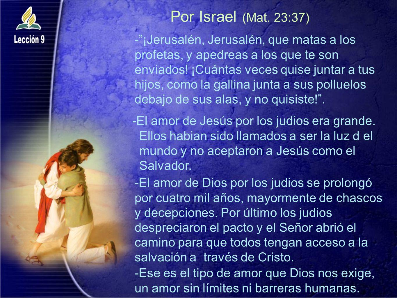 Por Israel (Mat. 23:37) -El amor de Jesús por los judios era grande. Ellos habian sido llamados a ser la luz d el mundo y no aceptaron a Jesús como el