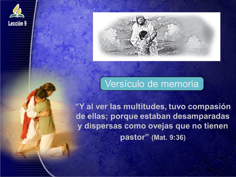 Y al ver las multitudes, tuvo compasión de ellas; porque estaban desamparadas y dispersas como ovejas que no tienen pastor (Mat. 9:36) Versículo de me