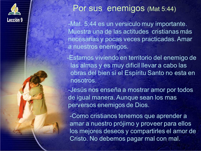 Por sus enemigos (Mat 5:44) -Estamos viviendo en territorio del enemigo de las almas y es muy dificil llevar a cabo las obras del bien si el Espíritu