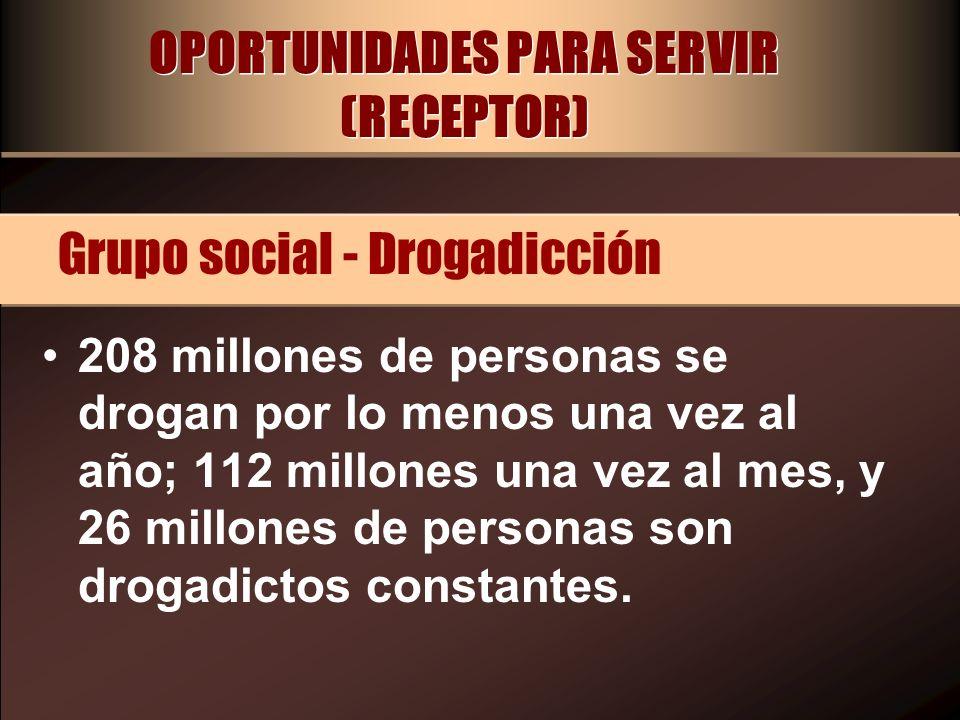 OPORTUNIDADES PARA SERVIR (RECEPTOR) 208 millones de personas se drogan por lo menos una vez al año; 112 millones una vez al mes, y 26 millones de per