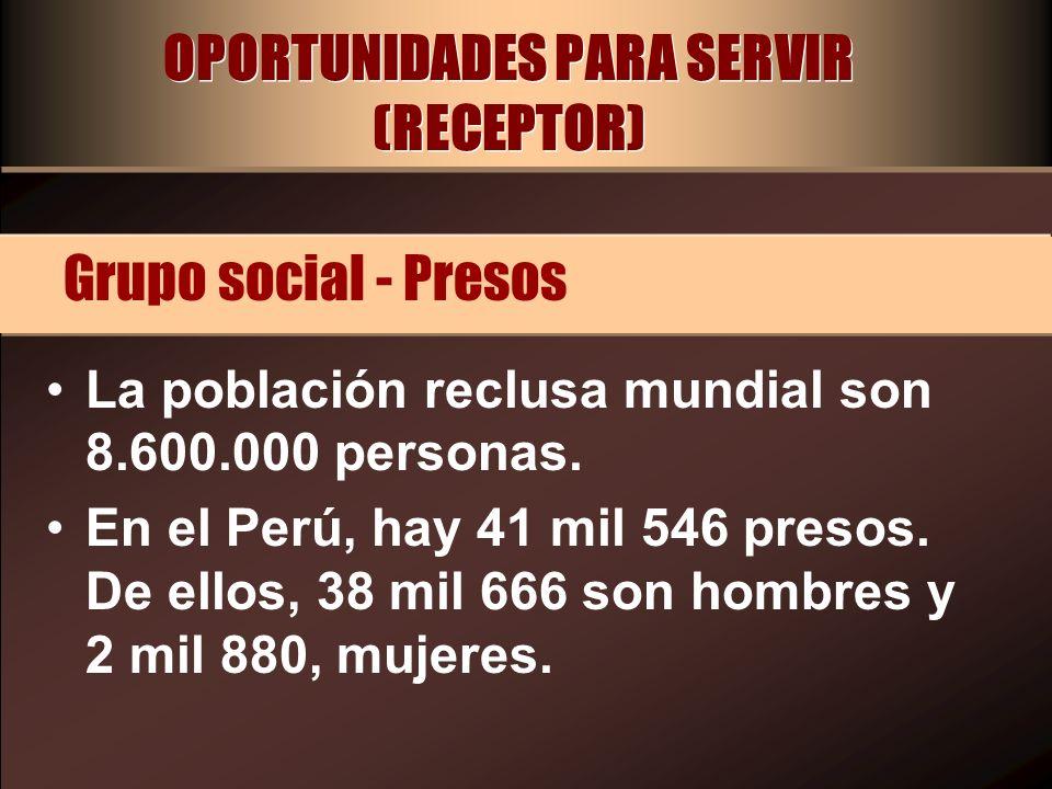 OPORTUNIDADES PARA SERVIR (RECEPTOR) La población reclusa mundial son 8.600.000 personas. En el Perú, hay 41 mil 546 presos. De ellos, 38 mil 666 son