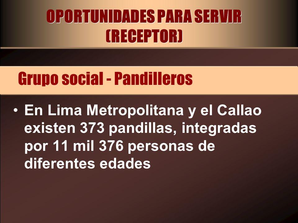 OPORTUNIDADES PARA SERVIR (RECEPTOR) En Lima Metropolitana y el Callao existen 373 pandillas, integradas por 11 mil 376 personas de diferentes edades
