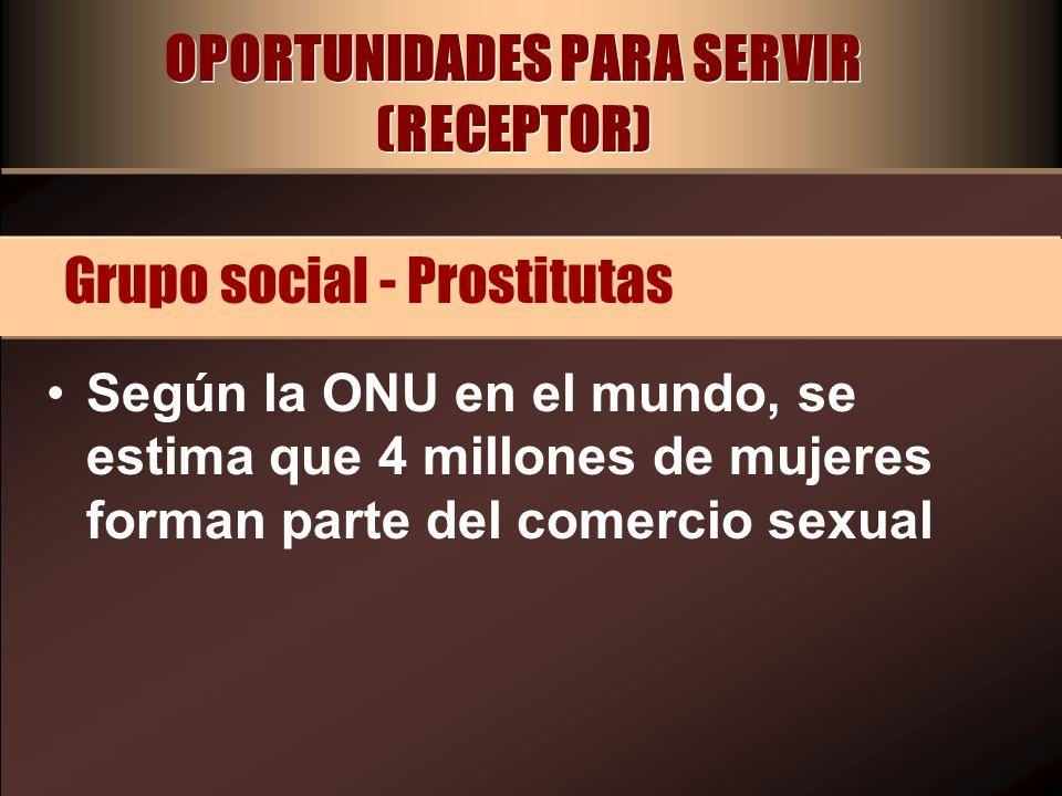 OPORTUNIDADES PARA SERVIR (RECEPTOR) Según la ONU en el mundo, se estima que 4 millones de mujeres forman parte del comercio sexual Grupo social - Pro