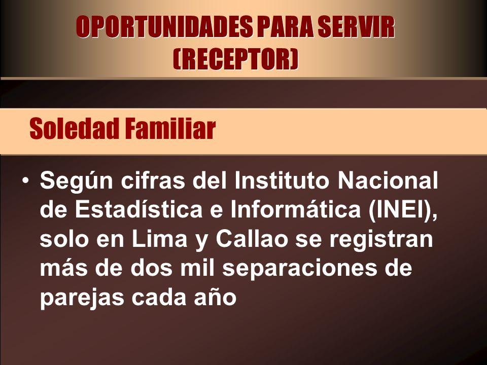 OPORTUNIDADES PARA SERVIR (RECEPTOR) Según cifras del Instituto Nacional de Estadística e Informática (INEI), solo en Lima y Callao se registran más d