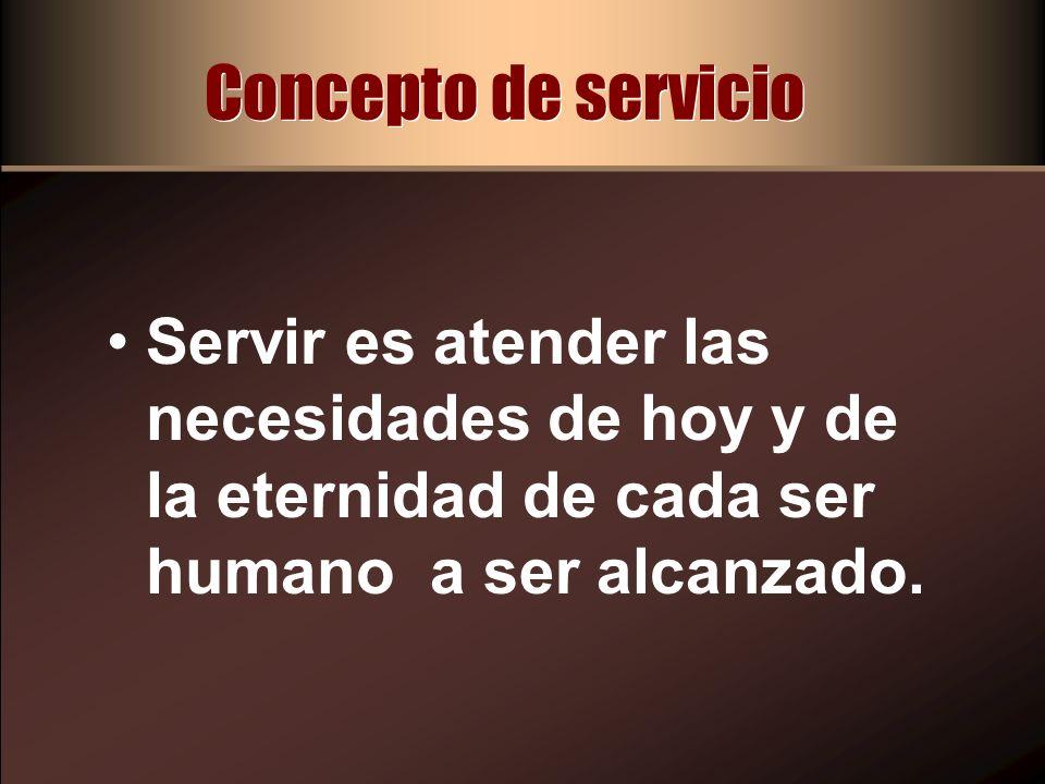 Concepto de servicio Se logra a través del proceso: Empatía, predicación y monitoreo del mensaje que compartimos