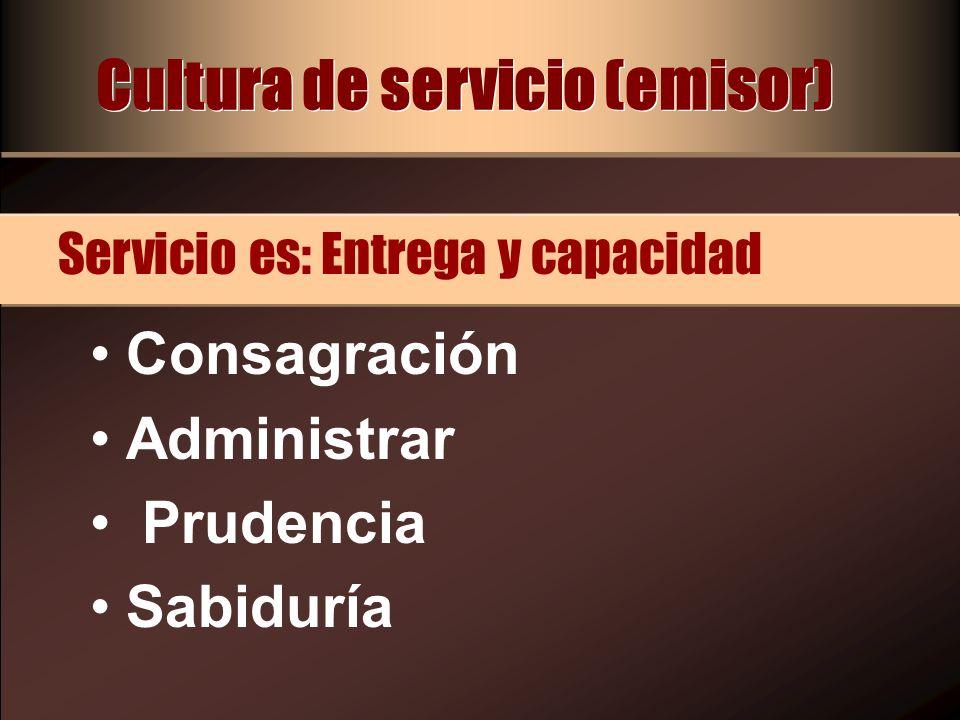 Cultura de servicio (emisor) Escuchó con fe (Hechos 8:26) Fue inmediatamente (Hechos 8:27) Tomó la iniciativa (Hechos 8:26) Servicio es: Actitud
