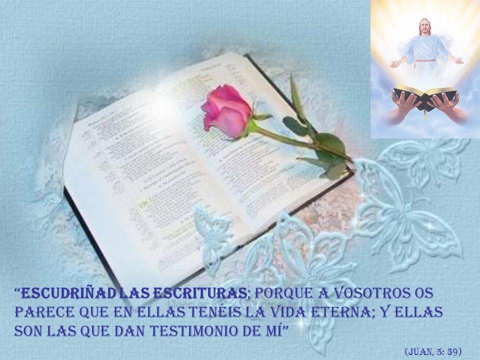 Escudriñad las Escrituras; porque a vosotros os parece que en ellas tenéis la vida eterna; y ellas son las que dan testimonio de mí (Juan, 5: 39)