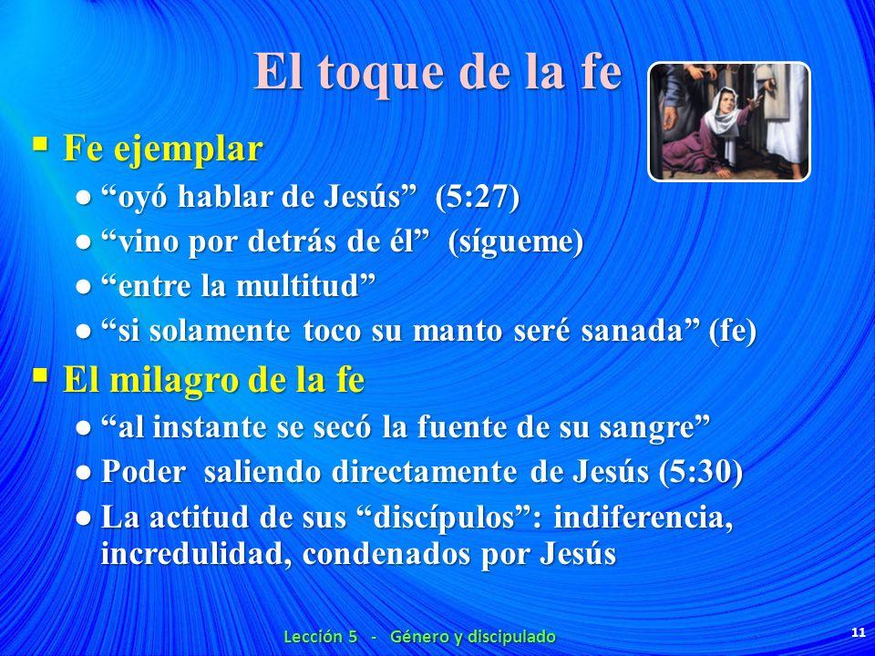 El toque de la fe Fe ejemplar Fe ejemplar oyó hablar de Jesús (5:27) oyó hablar de Jesús (5:27) vino por detrás de él (sígueme) vino por detrás de él