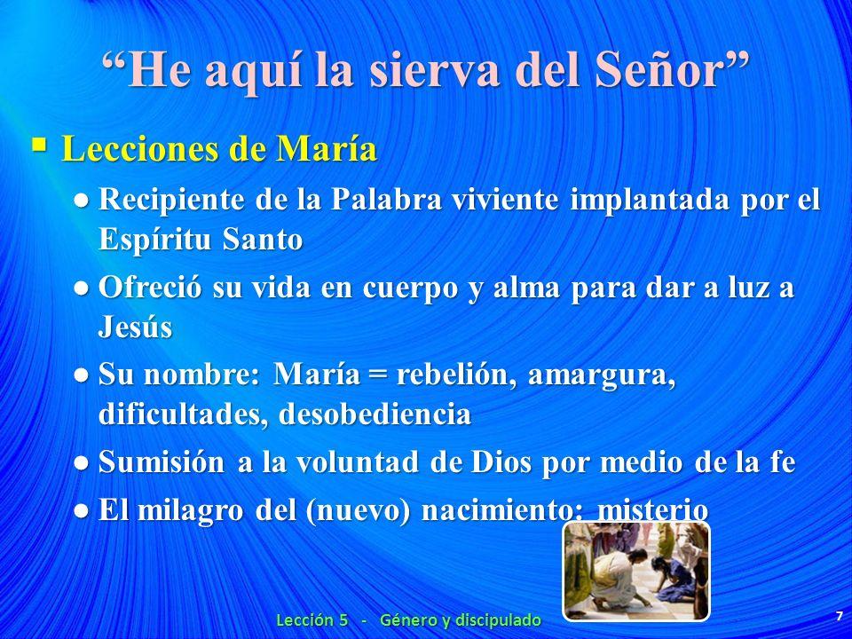 He aquí la sierva del Señor Lecciones de María Lecciones de María Recipiente de la Palabra viviente implantada por el Espíritu Santo Recipiente de la