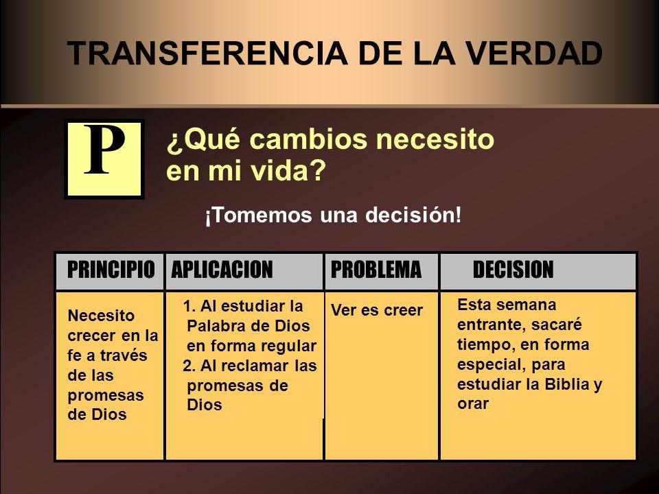TRANSFERENCIA DE LA VERDAD ¿Qué cambios necesito en mi vida? Necesito crecer en la fe a través de las promesas de Dios Ver es creer 1. Al estudiar la