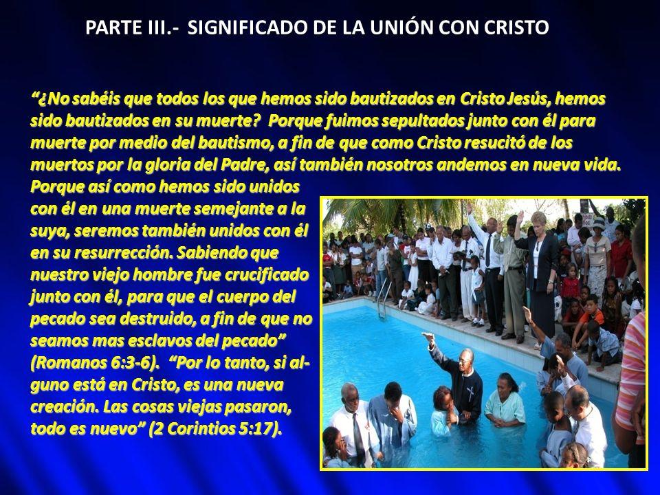 PARTE III.- SIGNIFICADO DE LA UNIÓN CON CRISTO ¿No sabéis que todos los que hemos sido bautizados en Cristo Jesús, hemos sido bautizados en su muerte?