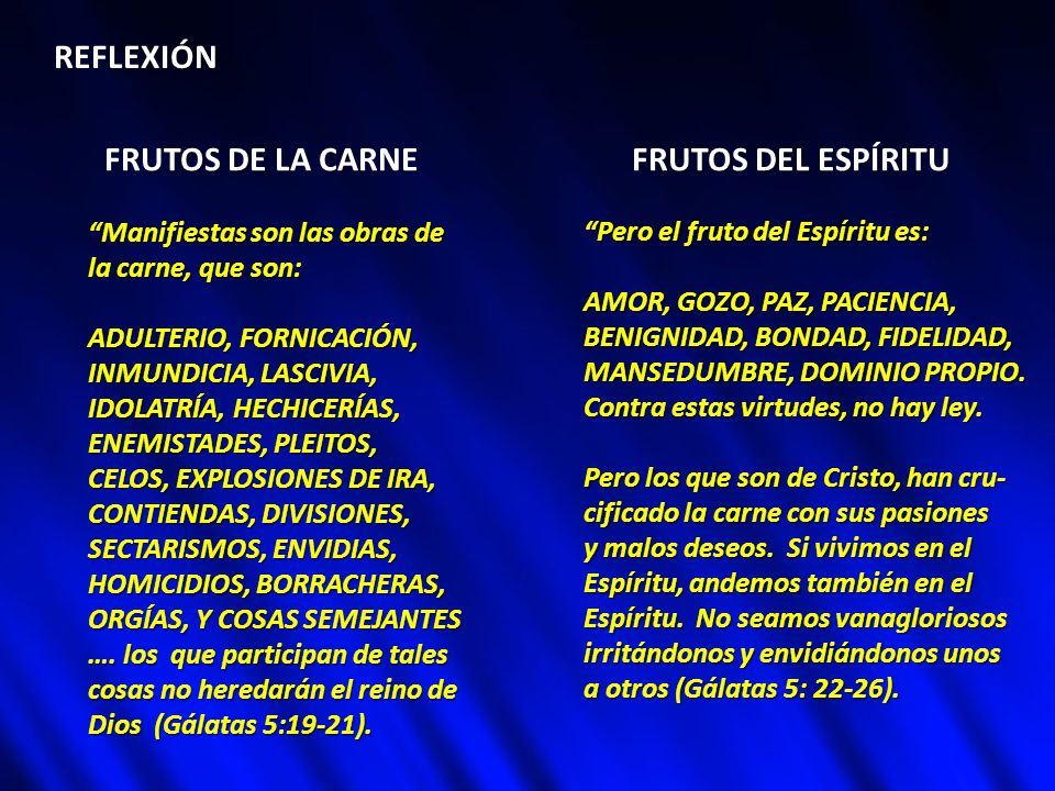 REFLEXIÓN FRUTOS DE LA CARNE FRUTOS DEL ESPÍRITU Manifiestas son las obras de la carne, que son: ADULTERIO, FORNICACIÓN, INMUNDICIA, LASCIVIA, IDOLATR