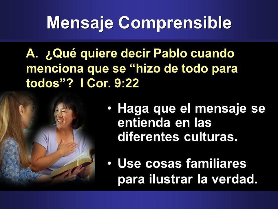 Mensaje Comprensible Haga que el mensaje se entienda en las diferentes culturas.