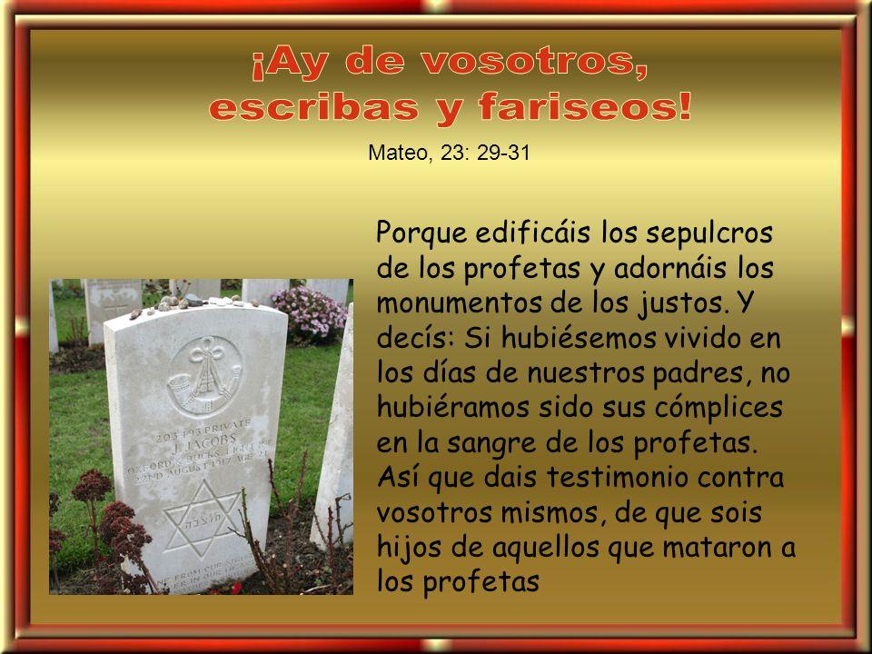 Porque edificáis los sepulcros de los profetas y adornáis los monumentos de los justos. Y decís: Si hubiésemos vivido en los días de nuestros padres,