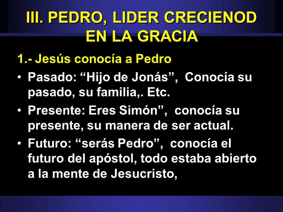 III. PEDRO, LIDER CRECIENOD EN LA GRACIA 1.- Jesús conocía a Pedro Pasado: Hijo de Jonás, Conocía su pasado, su familia,. Etc. Presente: Eres Simón, c