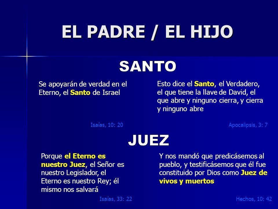 EL PADRE / EL HIJO Se apoyarán de verdad en el Eterno, el Santo de Israel Isaías, 10: 20 Esto dice el Santo, el Verdadero, el que tiene la llave de Da