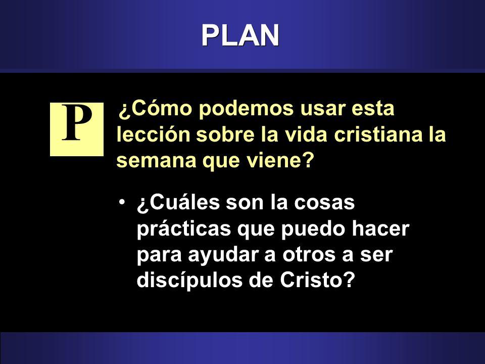 PLAN ¿Cómo podemos usar esta lección sobre la vida cristiana la semana que viene? ¿Cuáles son la cosas prácticas que puedo hacer para ayudar a otros a
