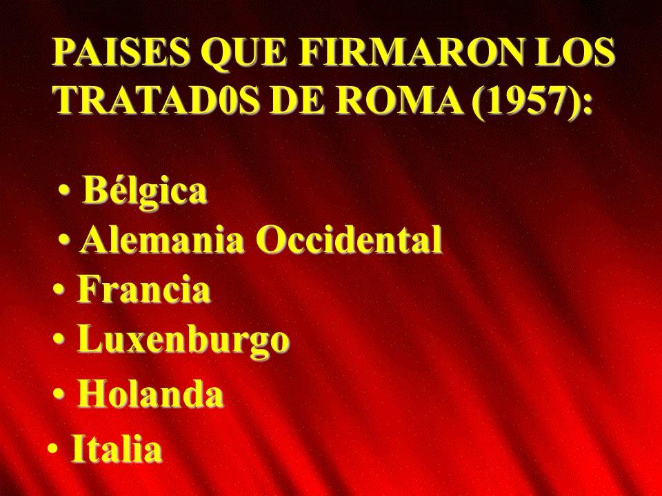 PAISES QUE FIRMARON LOS TRATAD0S DE ROMA (1957): Bélgica Bélgica Alemania Occidental Alemania Occidental Holanda Holanda Luxenburgo Luxenburgo Francia Francia Italia