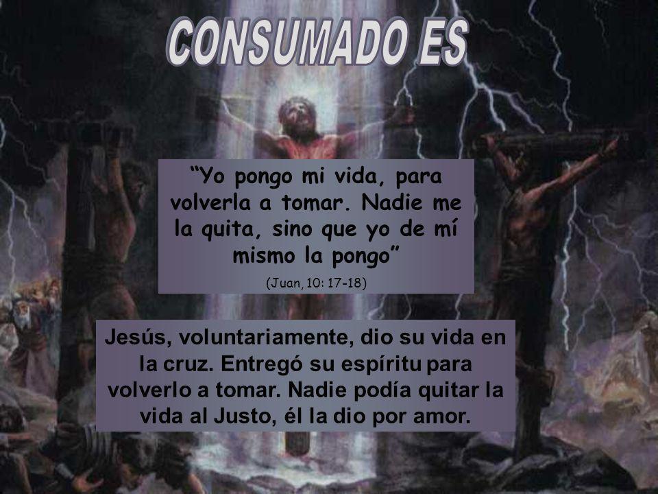 Jesús, voluntariamente, dio su vida en la cruz. Entregó su espíritu para volverlo a tomar. Nadie podía quitar la vida al Justo, él la dio por amor. Yo