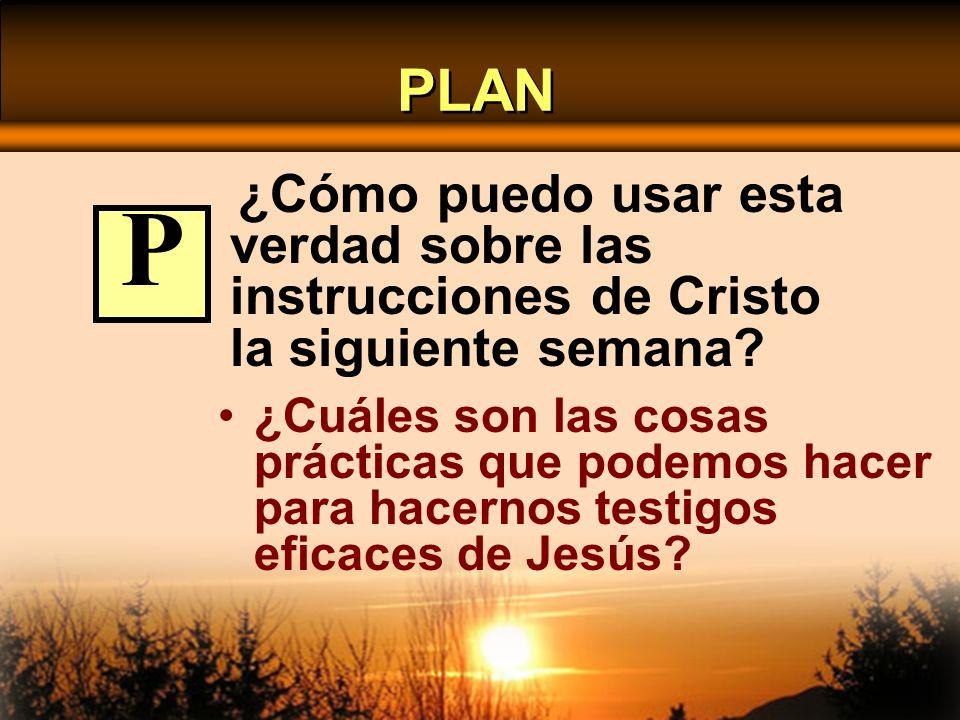 PLAN ¿Cómo puedo usar esta verdad sobre las instrucciones de Cristo la siguiente semana? ¿Cuáles son las cosas prácticas que podemos hacer para hacern