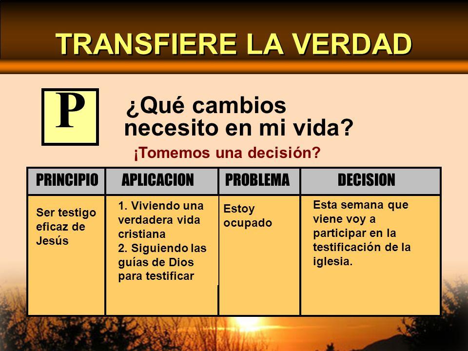 ¿Qué cambios necesito en mi vida? Ser testigo eficaz de Jesús Estoy ocupado 1. Viviendo una verdadera vida cristiana 2. Siguiendo las guías de Dios pa