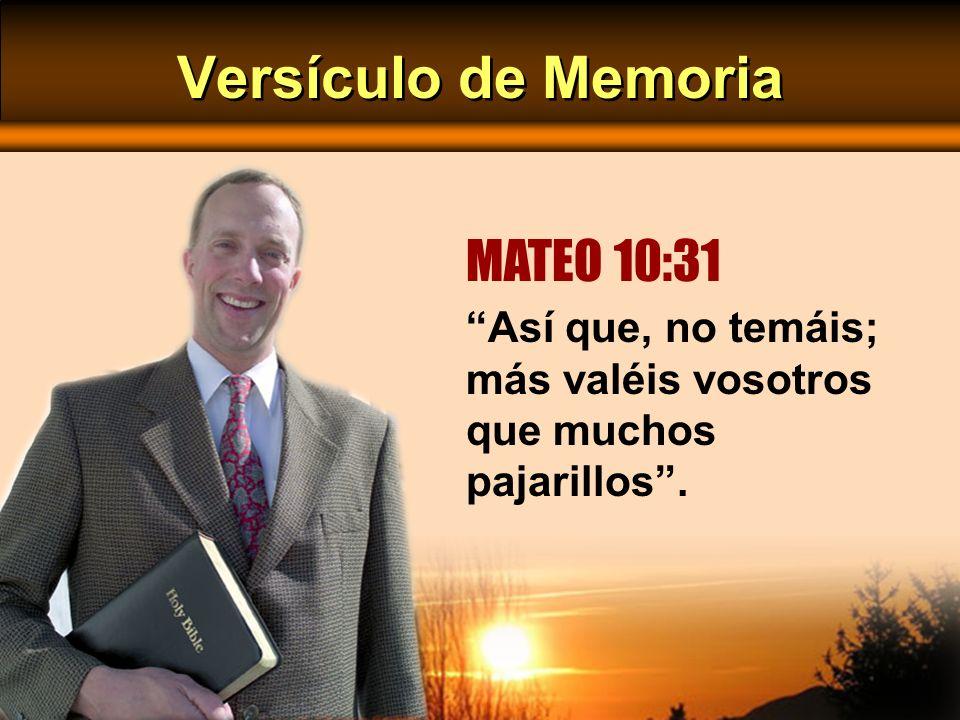 Versículo de Memoria Así que, no temáis; más valéis vosotros que muchos pajarillos. MATEO 10:31