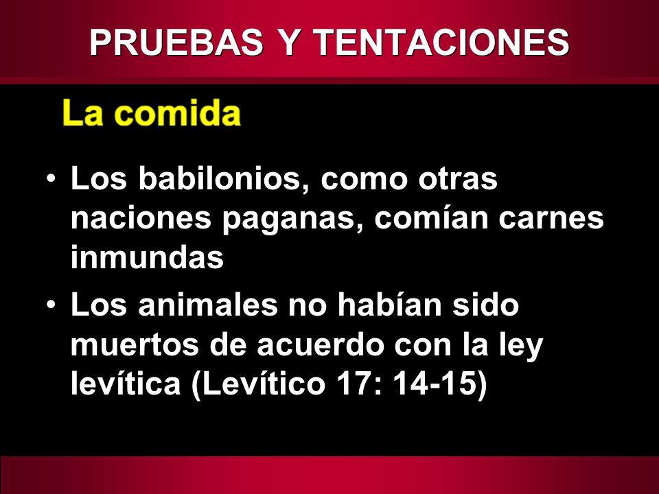 Los babilonios, como otras naciones paganas, comían carnes inmundas Los animales no habían sido muertos de acuerdo con la ley levítica (Levítico 17: 1
