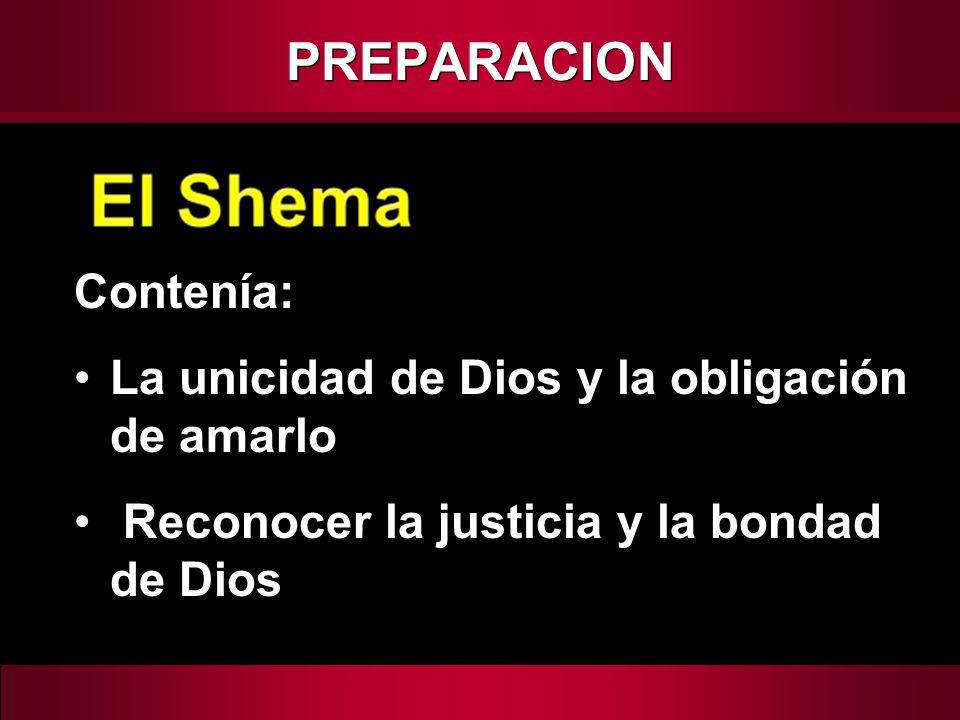 Contenía: La unicidad de Dios y la obligación de amarlo Reconocer la justicia y la bondad de Dios PREPARACION