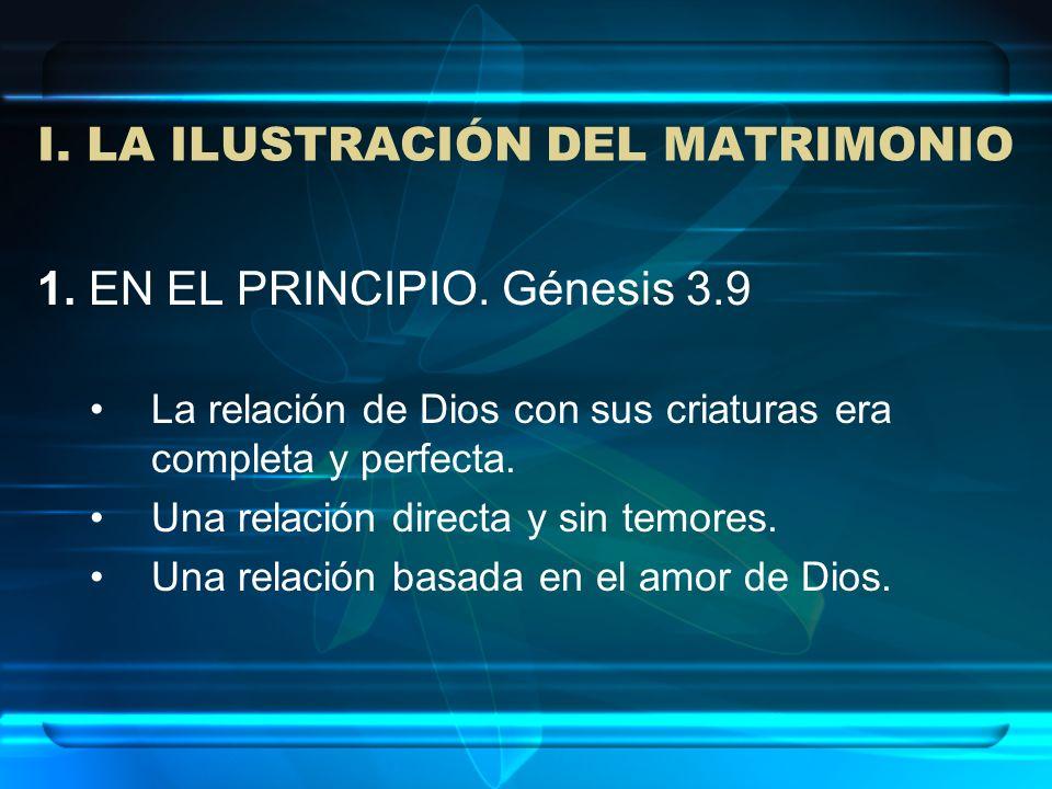 1. EN EL PRINCIPIO. Génesis 3.9 La relación de Dios con sus criaturas era completa y perfecta. Una relación directa y sin temores. Una relación basada