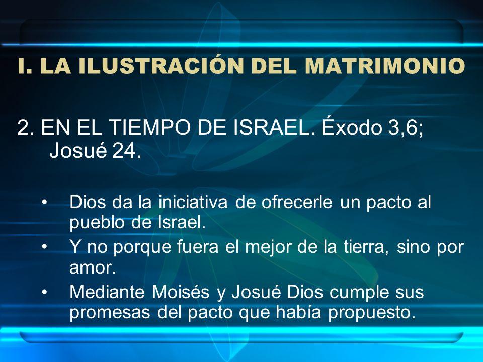 I. LA ILUSTRACIÓN DEL MATRIMONIO 2. EN EL TIEMPO DE ISRAEL. Éxodo 3,6; Josué 24. Dios da la iniciativa de ofrecerle un pacto al pueblo de Israel. Y no