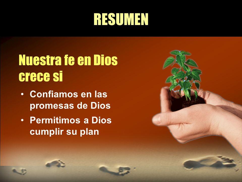 RESUMEN Nuestra fe en Dios crece si Confiamos en las promesas de Dios Permitimos a Dios cumplir su plan