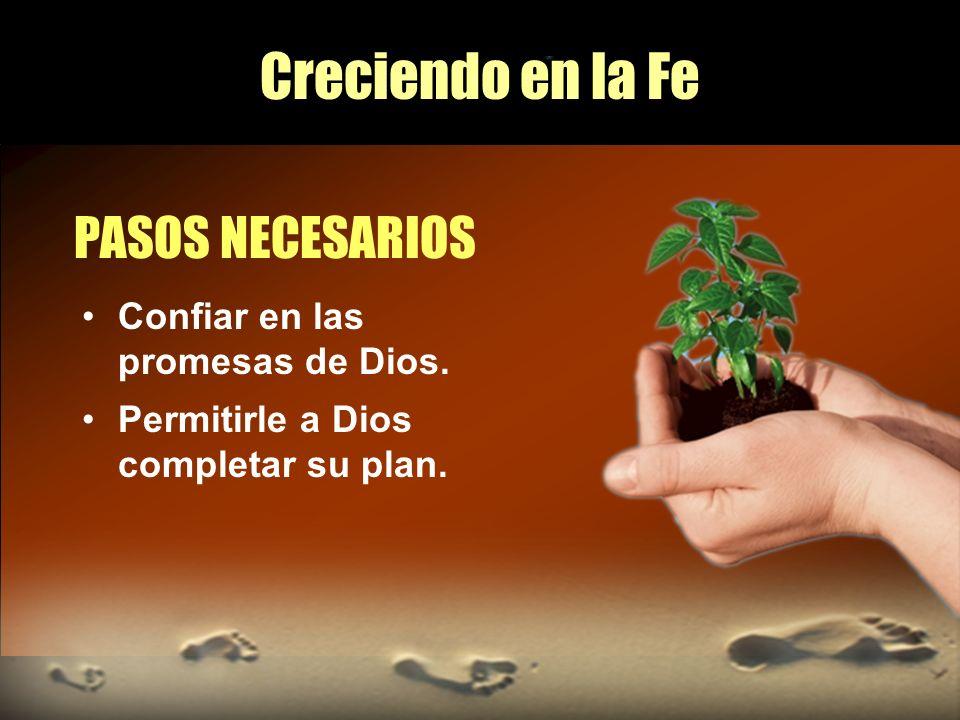 Creciendo en la Fe PASOS NECESARIOS Confiar en las promesas de Dios. Permitirle a Dios completar su plan.