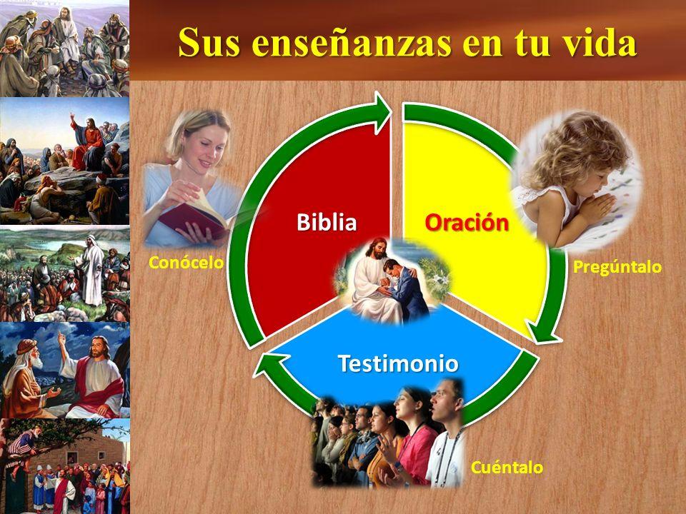 Sus enseñanzas en tu vida Oración Testimonio Biblia Conócelo Pregúntalo Cuéntalo