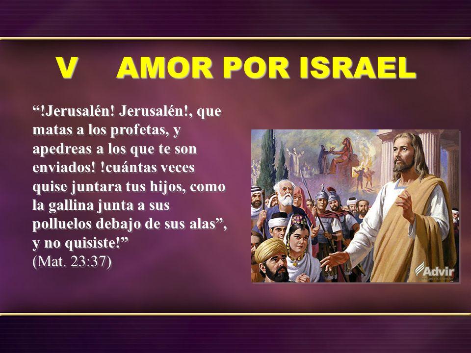 V AMOR POR ISRAEL !Jerusalén! Jerusalén!, que matas a los profetas, y apedreas a los que te son enviados! !cuántas veces quise juntara tus hijos, como
