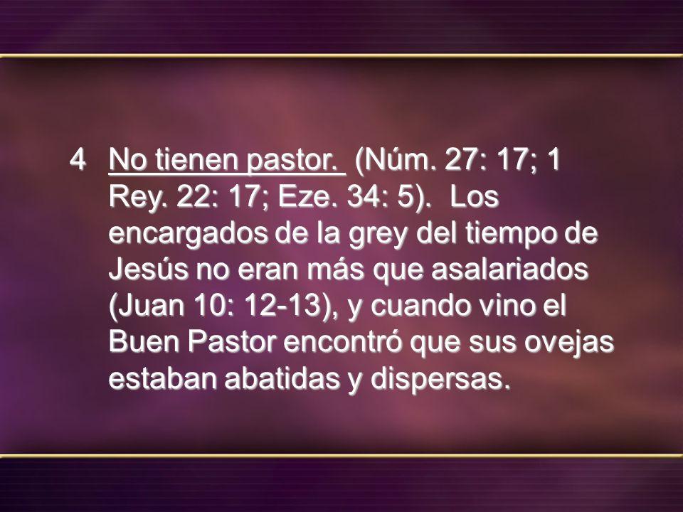 No tienen pastor. (Núm. 27: 17; 1 Rey. 22: 17; Eze. 34: 5). Los encargados de la grey del tiempo de Jesús no eran más que asalariados (Juan 10: 12-13)