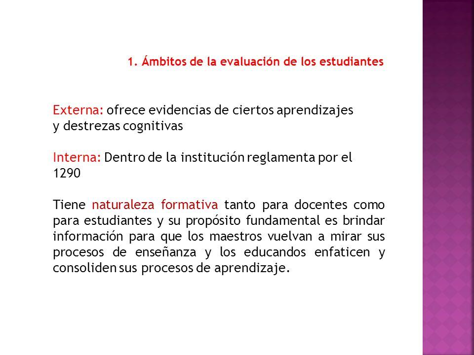 1. Ámbitos de la evaluación de los estudiantes Externa: ofrece evidencias de ciertos aprendizajes y destrezas cognitivas Interna: Dentro de la institu