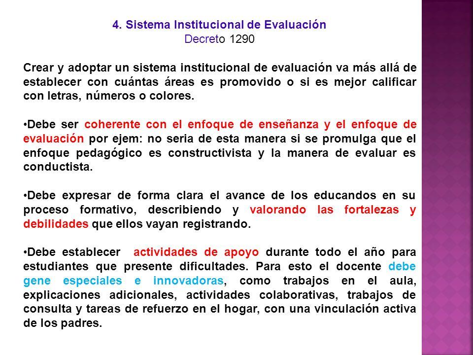 4. Sistema Institucional de Evaluación Decreto 1290 Crear y adoptar un sistema institucional de evaluación va más allá de establecer con cuántas áreas