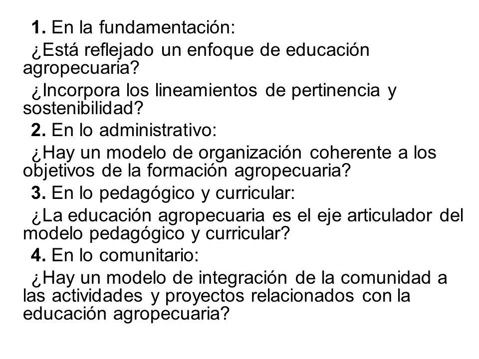1. En la fundamentación: ¿Está reflejado un enfoque de educación agropecuaria? ¿Incorpora los lineamientos de pertinencia y sostenibilidad? 2. En lo a