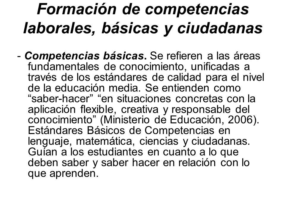 Formación de competencias laborales, básicas y ciudadanas - Competencias básicas. Se refieren a las áreas fundamentales de conocimiento, unificadas a