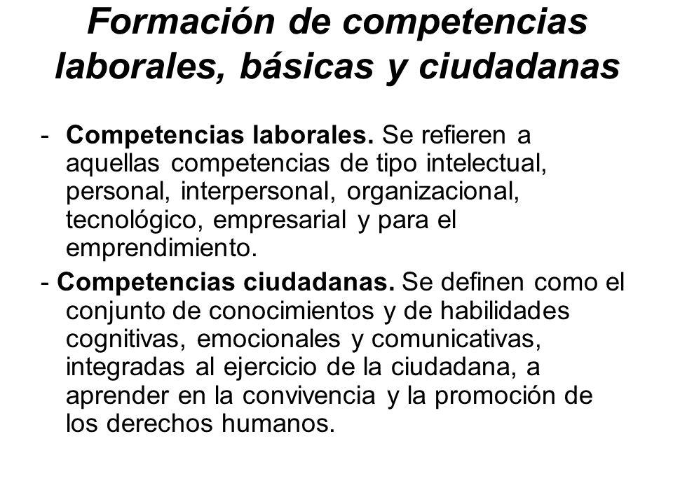 Formación de competencias laborales, básicas y ciudadanas -Competencias laborales. Se refieren a aquellas competencias de tipo intelectual, personal,