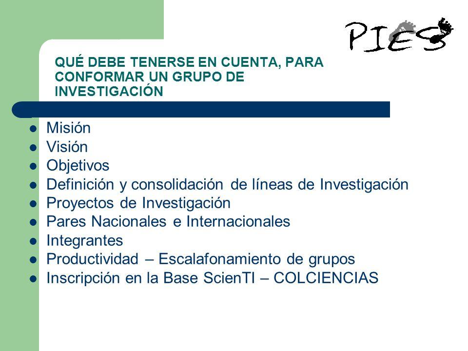 QUÉ DEBE TENERSE EN CUENTA, PARA CONFORMAR UN GRUPO DE INVESTIGACIÓN Misión Visión Objetivos Definición y consolidación de líneas de Investigación Pro