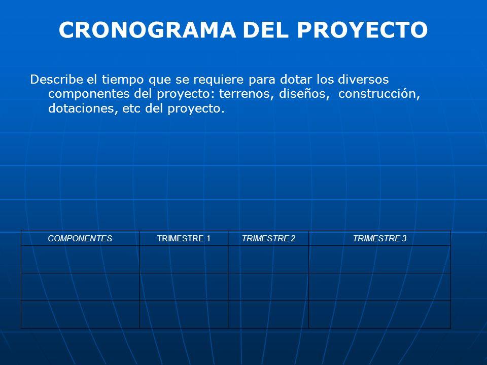 CRONOGRAMA DEL PROYECTO Describe el tiempo que se requiere para dotar los diversos componentes del proyecto: terrenos, diseños, construcción, dotacion